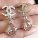 CHANEL Tear Drop Clear Crystal Dangle Earrings CC SILVER Stud