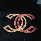 CHANEL Red & Gold Crystal Double CC Booch Pin 2015 Authentic Hallmark NIB