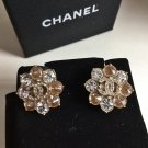 CHANEL PARIS-SALZBURG Champagne Gold CAMELLIA Crystal Stud Earrings