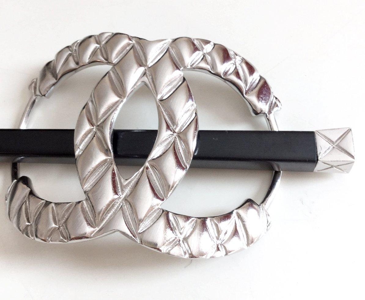 CHANEL Runway Fashion Hair Pin Stick SILVER Regular Size Hallmark Authentic
