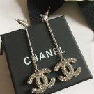 CHANEL Silver Crystal Baguette Dangle Chain Link Earrings CC HALLMARK