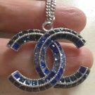 CHANEL BLUE Baguette CC Crystal Pendant Necklace SILVER Chain Authentic NIB!