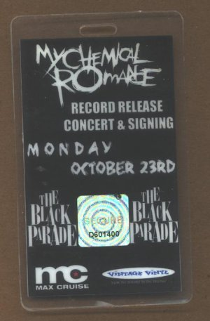 My Chemical Romance Backstage Pass