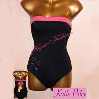KATIE PRICE (JORDAN) Strapless Swimsuit UK 14, US 12 (38DD)
