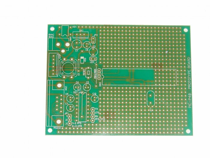 PIC Microchip PIC-P40 prototype board - ICD2, PICkit2, JDM...