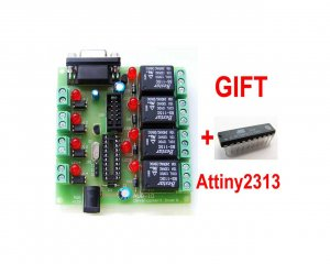 AVR-I/O IO DEVELOPMENT BOARD WITH 4 OPTOISOLATED INPUTS AND 4 RELAY OUTPUTS.
