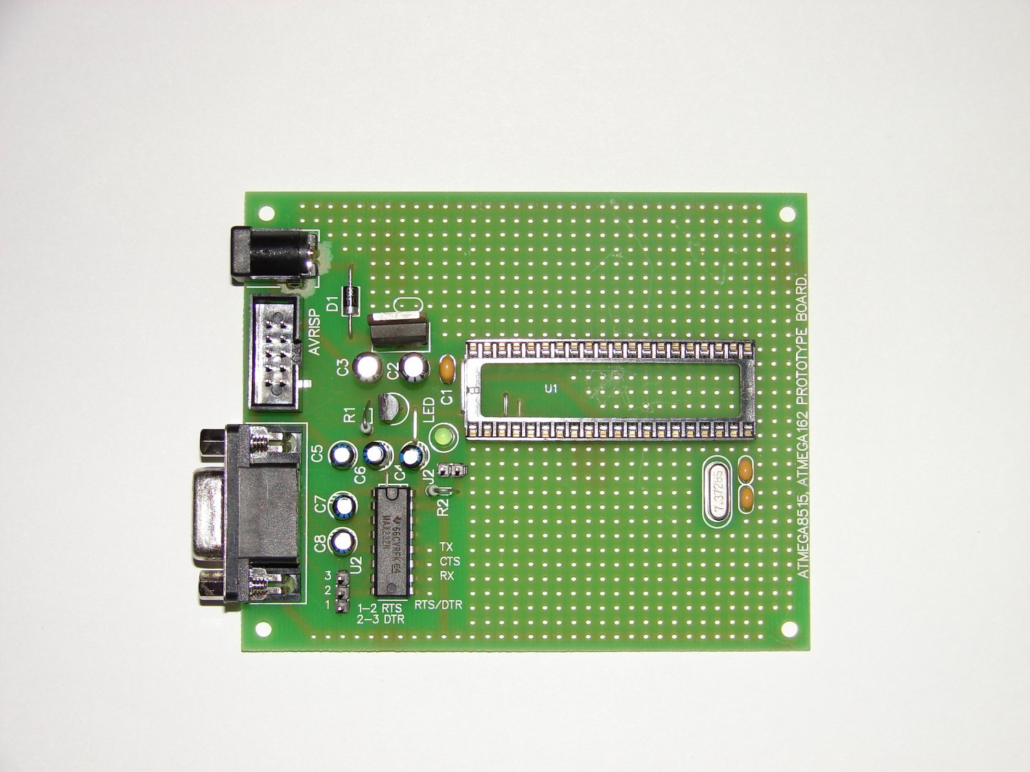 ATMEL AVR PROTOTYPE BOARD ATMega8515 with components