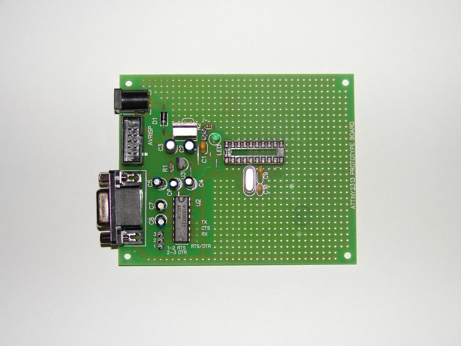 AVR ATMEL PROTOTYPE BOARD ATtiny2313 with components