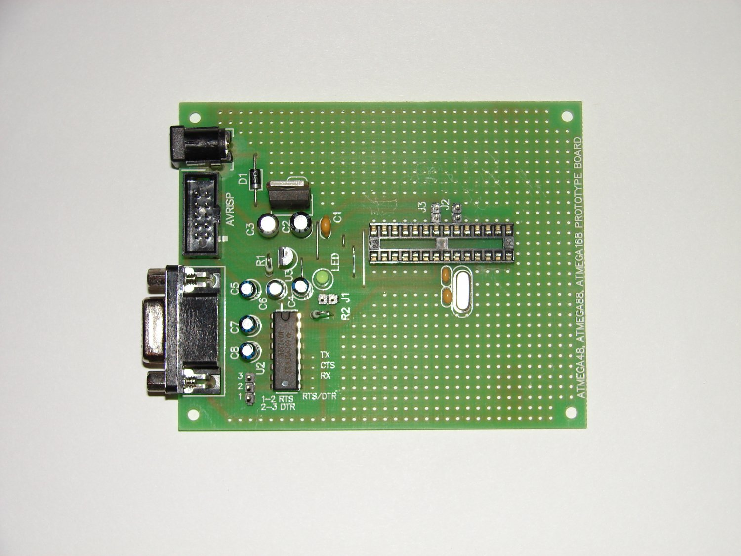 ATMEL AVR PROTOTYPE BOARD ATMega8 (88) with components