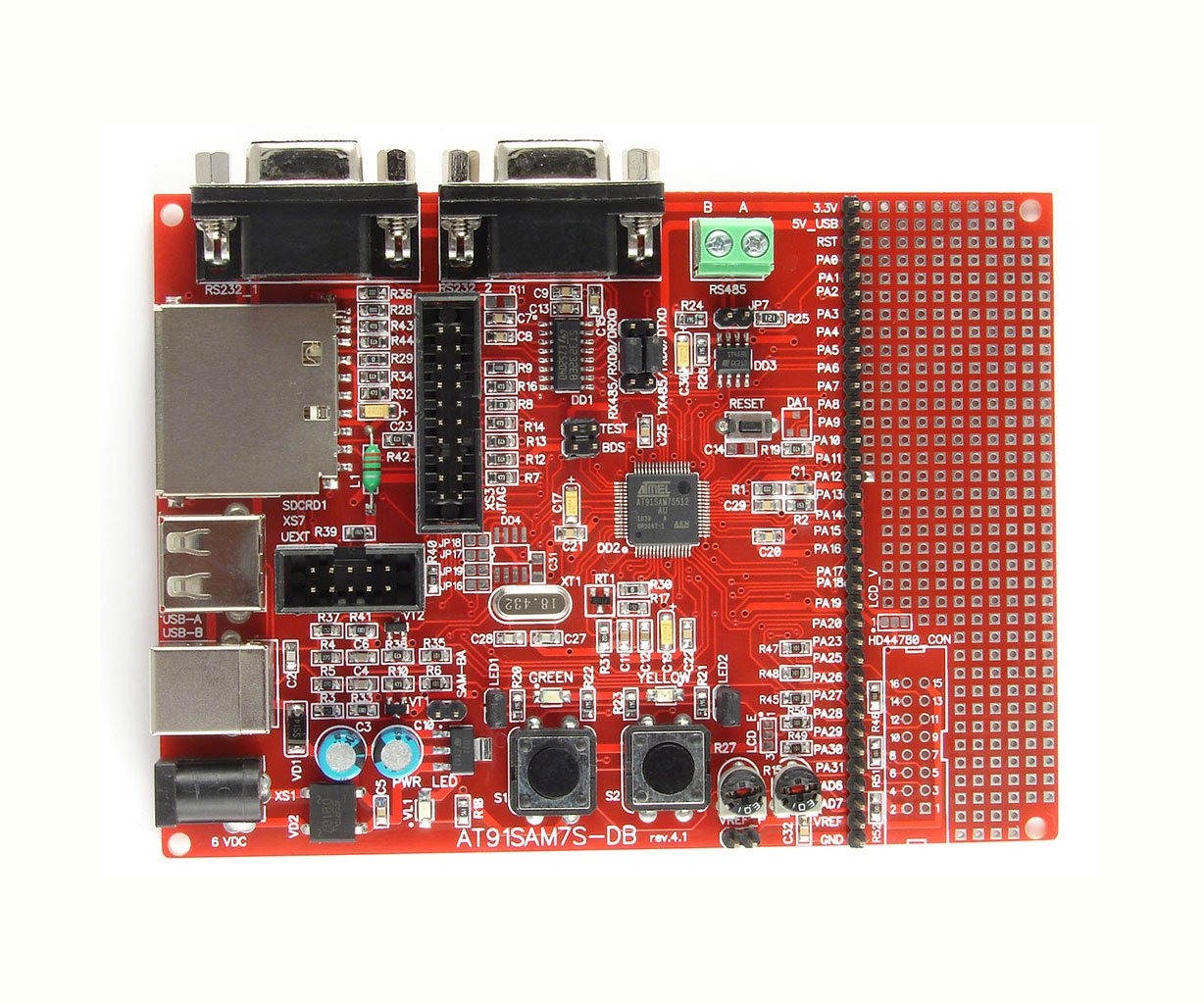 ATMEL AT91SAM7S128 ARM7 board: JTAG, SD card slot, USB, 2xRS232, 1xRS485