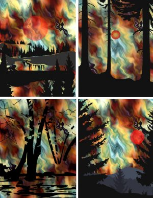 Artist Made 4 Fabric Prints Landscape Watercolor Quilting