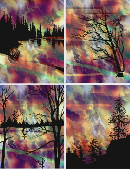 4 Fabric Prints Asian Sunset Mountian Landscape Forest UNIQUE Quilting