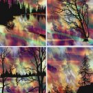 4 Fabric Prints Asian Sunset Mountian Landscape Forest UNIQUE Quilting