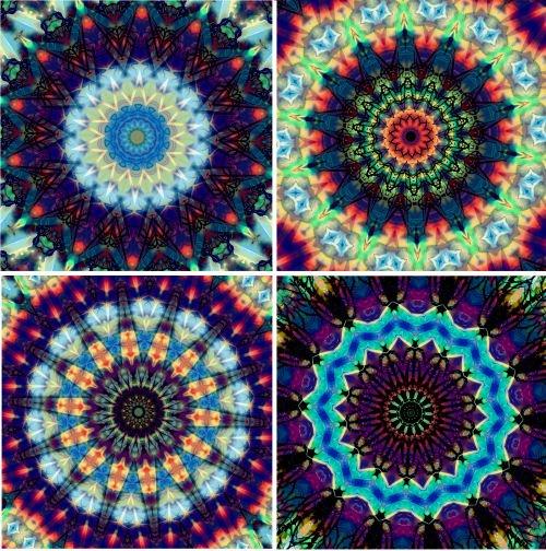 8 Artist Made Kaleidoscope Squares Fabric Prints Original Artwork