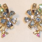 Vintage Coro Gold Tone Colored Rhinestones Flower Clip Earrings