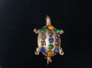 Sterling Silver Figural Turtle Brooch/Pin Colored Rhinestones