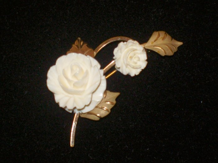 Cultra 14k GF Carved Ivory Rose Leaf Brooch/Pin