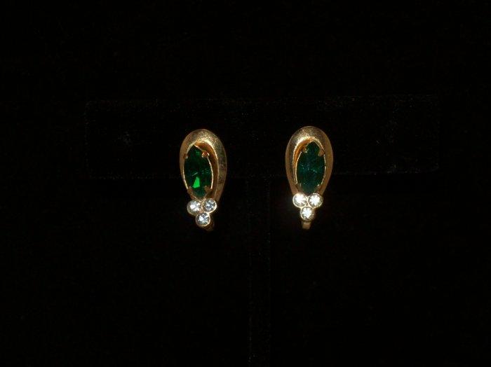 Coro screwback gold-tone green clear rhinestone earrings