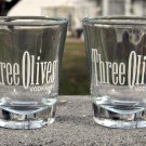 SET OF 2 THREE OLIVES VODKA SHOT GLASSES 1 OZ