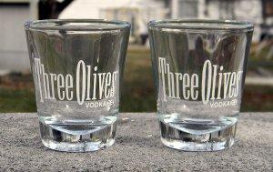 SET OF 2 THREE OLIVES VODKA SHOT GLASSES 1 OZ