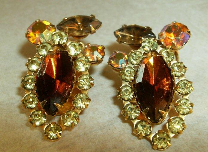 Vintage Amber Marquis Rhinestone Clip earrings