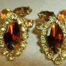 Vintage Amber Marquis Rhinestone Clip earrings