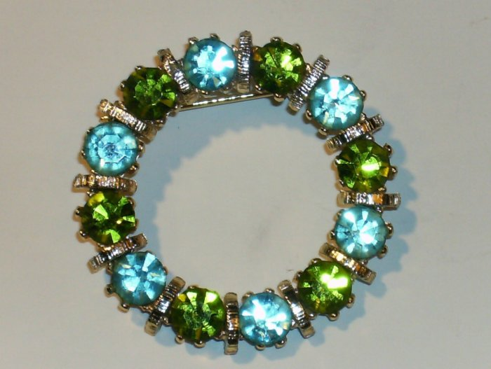Vintage Rhinestone Demi pin and earrings