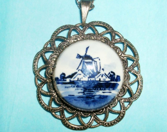 Vintage Blue Delft Windmill Necklace