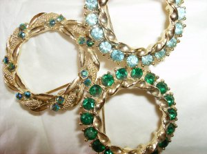 Vintage Rhinestone Circle Pin Jewelry Lot