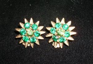 Vintage green rhinestone clip earrings