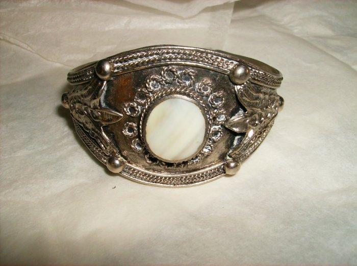 Vintage Silver Shell Cuff Bracelet