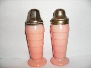Pink Depression Glass Shakers