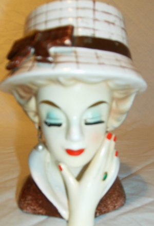 Japan Lady Head Vase with earrings