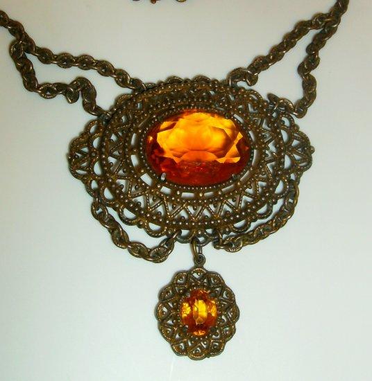 Vintage Victorian Revival Glass Lavalier Necklace