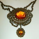Vintage Victorian Revival Glass Lavalier Necklace