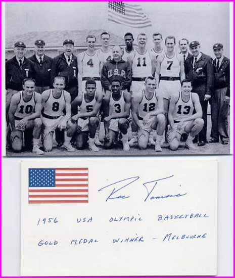 1956 Melbourne Basketball Gold RONALD TOMSIC Signed Card & Pict