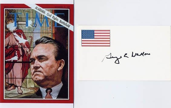 Alabama Governor & Pres Cand GEORGE WALLACE Signed Card & Pict
