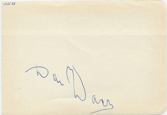 1956-60 1500m Olympian & 1000m WR DAN WAERN Autograph 1958