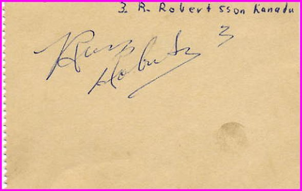 1954 1st Canadian Ice Hockey Team vs Soviet RUSS ROBERTSON Autograph 1954