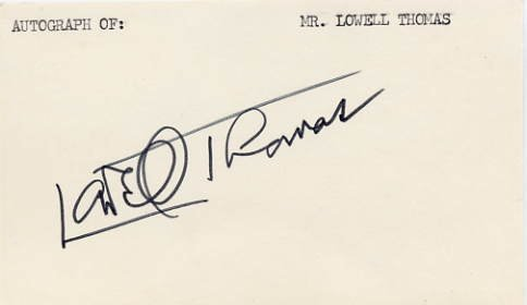 Writer & Broadcaster LOWELL THOMAS Hand Signed Card