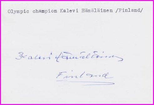 1960 Squaw Valley Nordic Skiing Gold KALEVI HAMALAINEN Autograph