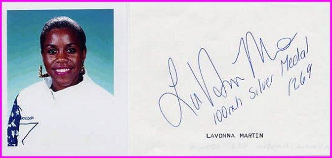 1992 Barcelona Hurdles Silver  LAVONNA MARTIN Autograph & Pict