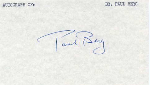 1980 Nobel Chemistry PAUL BERG Hand Signed Card 1981