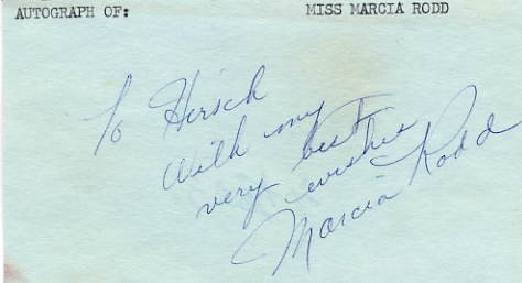 Actress MARCIA RODD Hand Signed Card from 1971