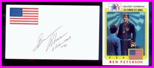 1972 Munich Wrestling Gold BEN PETERSON Autograph & Olympic Card