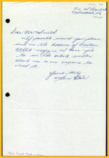 Kent State Mile Track Star SAM BAIR Autograph Letter Signed 1967