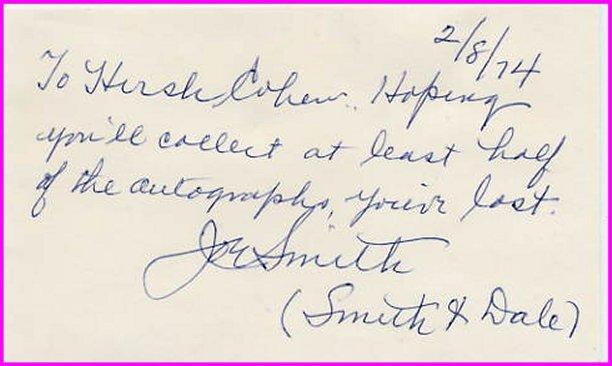 Comedy Smith & Dale JOE SMITH Autograph Note Signed 1974