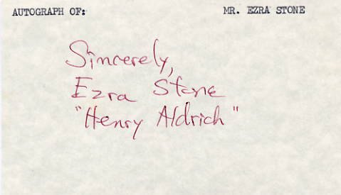 The Aldrich Family EZRA STONE Hand Signed Card from 1980