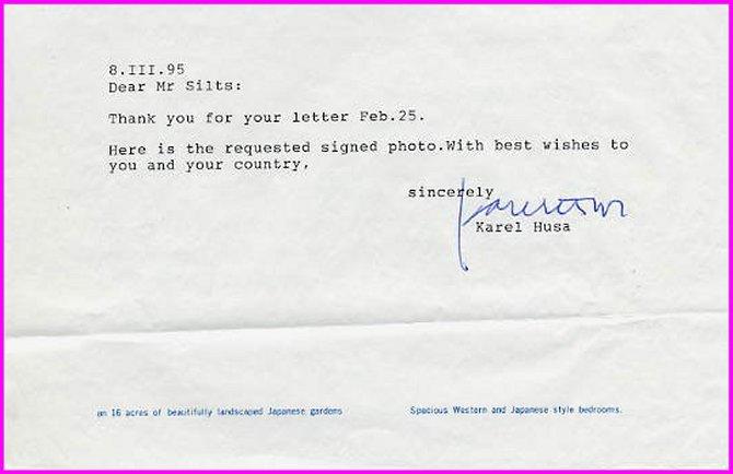 Pulitzer-Prize Composer KAREL HUSA Typed Letter Signed 1995