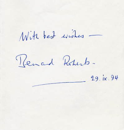 Notable English Pianist BERNARD ROBERTS Autograph Note Signed 1994
